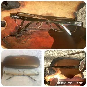 Gucci Gunmetal Grey Glasses/ Frames, Case, Box